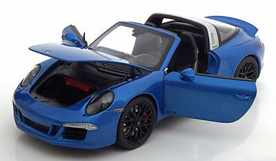 Schuco 2015 POrsche 911 991 GTS Targa 4 Blue Metallic Color 1/18 Scale. New!