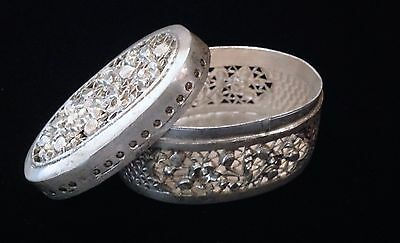 Vintage Silver Washed Cut Work Syrian Box