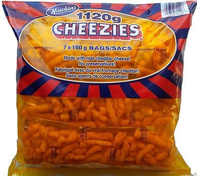CANADIAN Hawkins Cheezies 1120G /39.5 Ounces-7x160 gram Bags Made In Canada