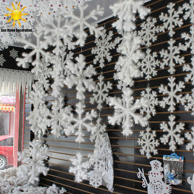 30Pcs New Classic White Snowflake Ornaments Christmas Holiday Party Home Decor R