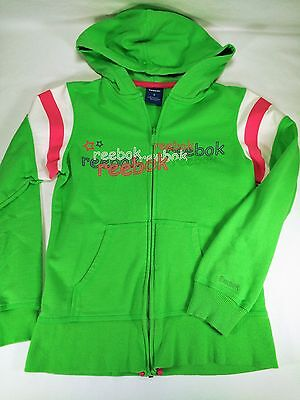 Reebok Girls Green Pink Striped Zip Up Hoodie With Pockets Size Small S