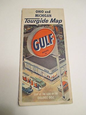 Vintage GULF OHIO & MICHIGAN TOURGIDE Oil Gas Service Station Road Map