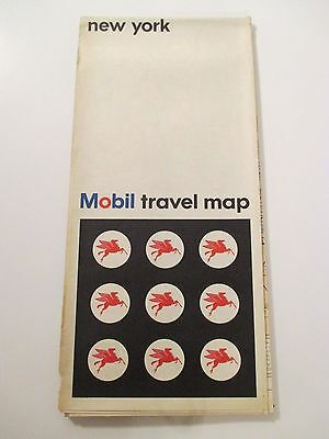 1966 MOBIL NEW YORK Oil Gas Service Station Road Map