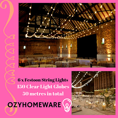 6x 25 Pc Festoon String Lights Outdoor Wedding Banquet Party Fairy Waterproof