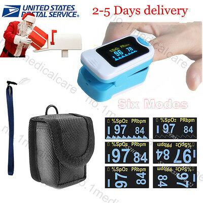OLED SPO2 Pulse Oximeter Finger Tip Blood Oxygen Patient Monitor, Pouch, US