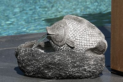 79510 Fountain Fish Made of Polyresin/Fibreglass Grey/Anthracite Meets ip67-norm