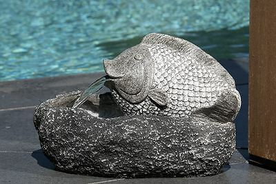 79510 Fountain Fish made of Polyresin/Fibreglass grau/anthracite meets IP67-Norm