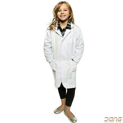 Childrens Doctors Scientist White Lab Surgeon Hospital Coat Fancy Dress Costume