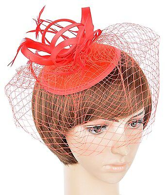 """Womens Fascinator Hat Decorated Feather for Wedding Tea Party with Veil 5.5"""" Red"""
