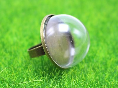 DIY Bronze Adjustable Ring with 30mm Clear Glass Dome Terrarium 1/2 Globe Bottle
