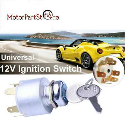 Universal Car Motorcycle Bike Boat Ignition Key Switch Barrel /w Keys Set 12V