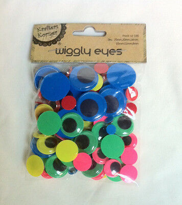 100 Neon/Bright Coloured Wiggly Wiggle Joggle Eyes ~8mm-12mm-15mm-18mm-20mm-25mm