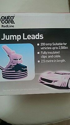 Pair of Quality HEAVY DUTY Autocare Redline JUMP LEADS 200 Amp 2.5m Long