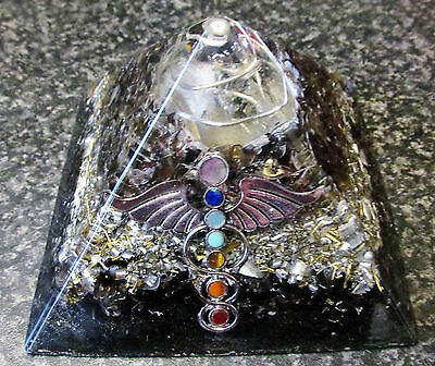Orgone Smoky Quartz Pyramid with Angel Wings and 7 Chakra Colours