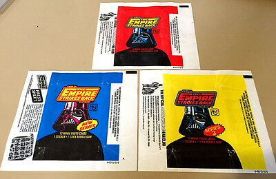 Star Wars Empire (ESB S1,2,3) - 3x Wax Pack Card Wrapper SET - 1980 NO TEARS !