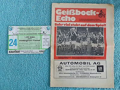 1979 EUROPEAN CUP SEMI FINAL 2ND LEG PROGRAMME + TICKET - COLOGNE v NOTTS FOREST