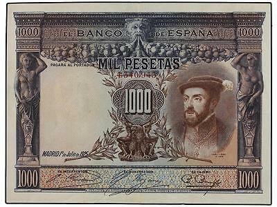 Spain-Banknote  Extremely  Rare  Rare   1000  Pesetas  1925  Xf
