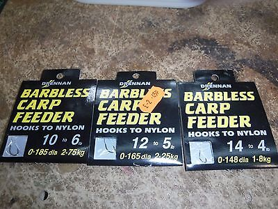 Drennan Barbless Carp Feeder Hooks To Nylon SET/3 SZ10/12/14