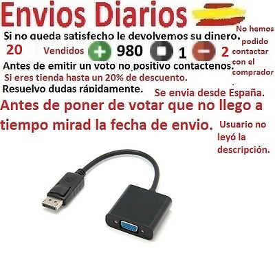Cable Adaptador Conversor Dp Displayport Macho A Vga Hembra 1080P