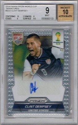 2014 Panini Prizm World Cup Signatures #S-CD Clint Dempsey BGS 9 / Autograph 10