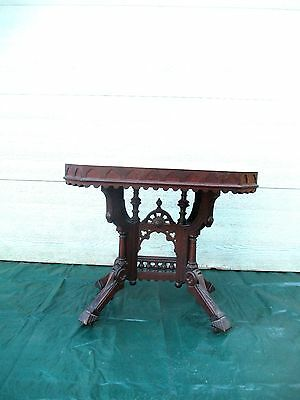 Rare TRESTLE BASE marble top TABLE walnut Eastlake Victorian DELIVERY AVAILABLE