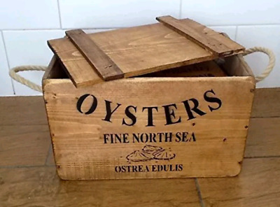 Antique Vintage OYSTERS CHEST Wooden Boxes - Chest - Crates ~ Trugs