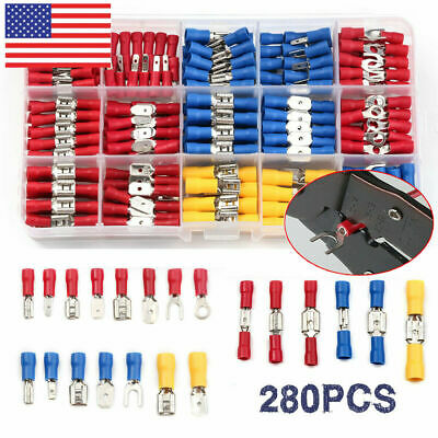 280PCS Insulated Wire Connectors Crimp Spade Fork Ring Electrical Terminals Kit