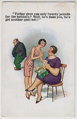 """POSTCARD - comic, flapper girl & parents """"20 pounds for the holidays"""", McGill?"""