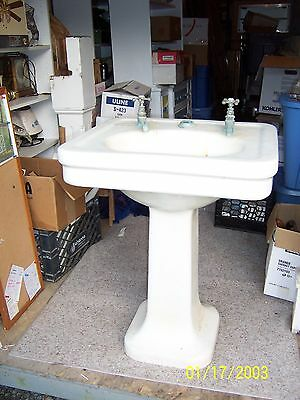 Vintage Antique  Pedestal Sink With Crazing