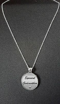"""Special Godmother Pendant On 18"""" Silver Plated Necklace N757"""
