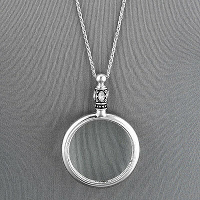 Antique Silver Chain 5 X Magnifying Glass Design Pendant Necklace