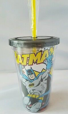 NEW DC Comics Batman Clear Plastic Travel Drink Cup With Straw