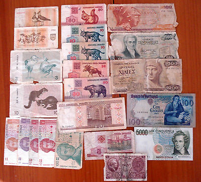 Europa. Set Europe circulated banknotes: Lithuania, Italy, Portugal, Greece...
