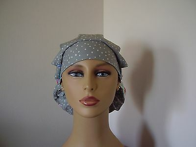 Bouffant/Ponytail Combo Surgical Scrub Hat- Large Floral - One size