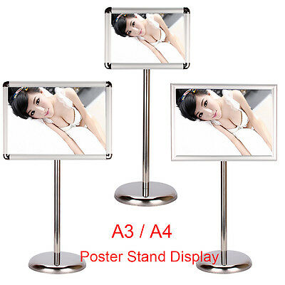 A3 A4 Floor Poster Stand Display Snap Frame Bar Coffee Shop Menu Board Silver UK