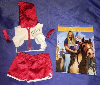 American Girl Julie 2-in-1 Summer Skating Outfit w/Hooded Jacket, Shorts, Book!