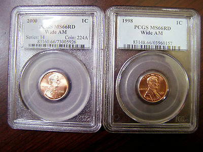 1998 & 2000 Wide Am PCGS MSRD Lincoln Memorial Coins