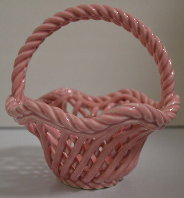 Handled Basket Woven Porcelain Pink Price Products