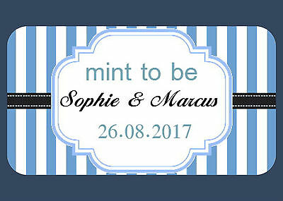 65 Mini Wedding Favour Stickers Mint To Be, 8 Colours,choose Your Own Text