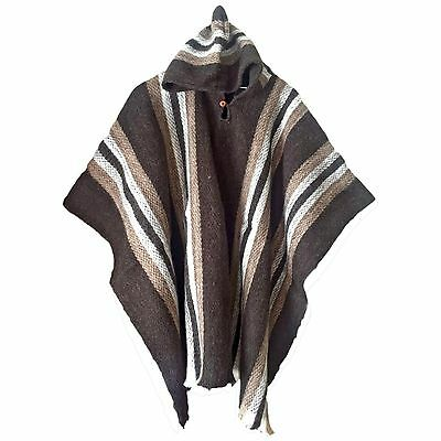 Wholesale Lot Of 10 Llama Wool Unisex South American Hooded Poncho Cape Coat