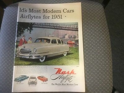 Vintage Magazine ad 1951 Nash Colered