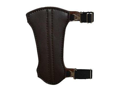 Archery Armguard Arm Guard 2 Strap Wrist Protector For Hunting Cow Leather Black