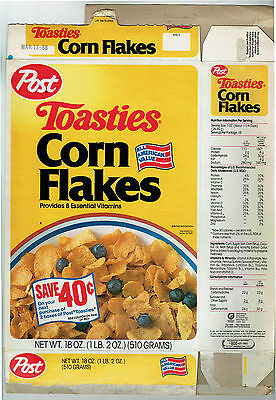 Post Toasties Corn Flakes 18 oz. Cereal Box 1988 - C. W. Post Story