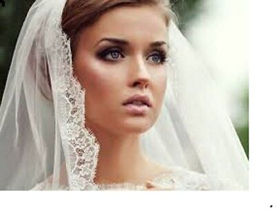 "Ivory 1 Tier Veil 40"" 1.5 Eyelash Fringe Lace Fingertip Knee Comb Wedding 13F-"