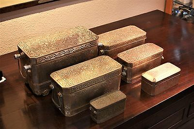 Antique Betel Nut Box Collection, Bronze with inlaid silver set of 6