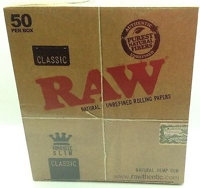 RAW CLASSIC King Size Slim 110mm Natural Unrefined Rolling Papers 50 PACKS