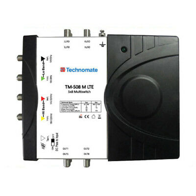 Technomate TM-58 M LTE 5×8 Multiswitch works with Quad or Quattro LNB 5 in 8 out