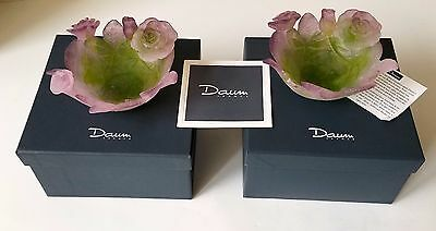 Two Signed Daum Purple Pate De Verre Crystal Glass Rose Flower Small Vases