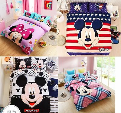 Disney Mickey Mouse Minnie 100% Cotton Sheet Duvet Cover Bed Sets Not Comforter