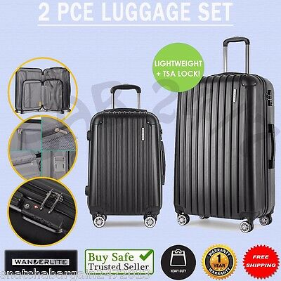 2 X WANDERLITE Wheel Travel Carry On Luggage Suitcase Case Security Lock Black